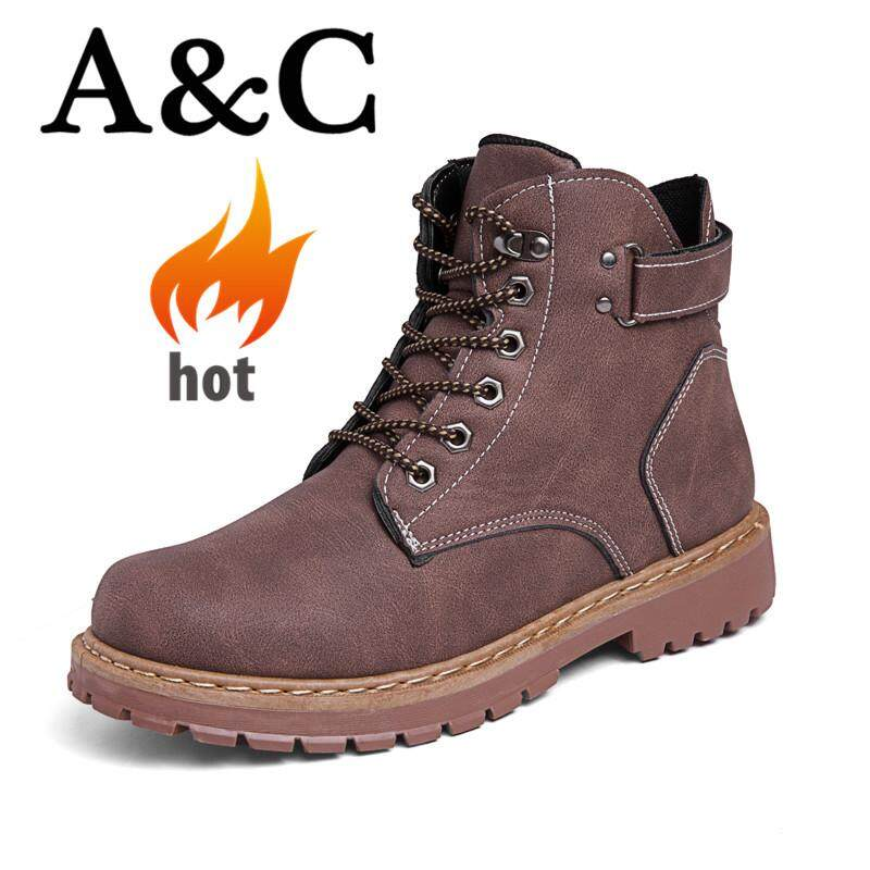 17918a9073fd4 A&C Men's Outdoor High Boots Fashion Martin Boots Leather Boots【Free  Shipping】
