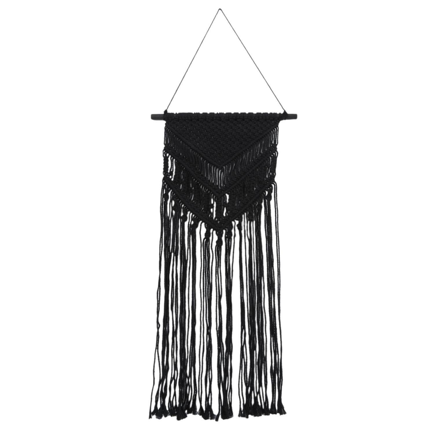 Macrame Wall Hanging Woven Tapestry Minimalist Home Decor, Black,35cmx95cm Free Shipping