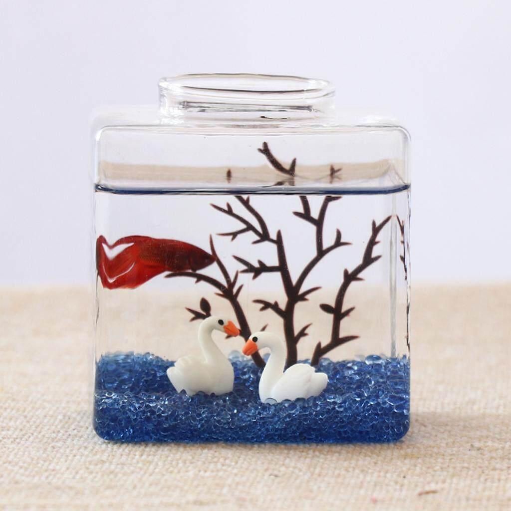 BolehDeals Mini Glass Small Ecological System Aquarium Fish Tank Desktop Decor Clear