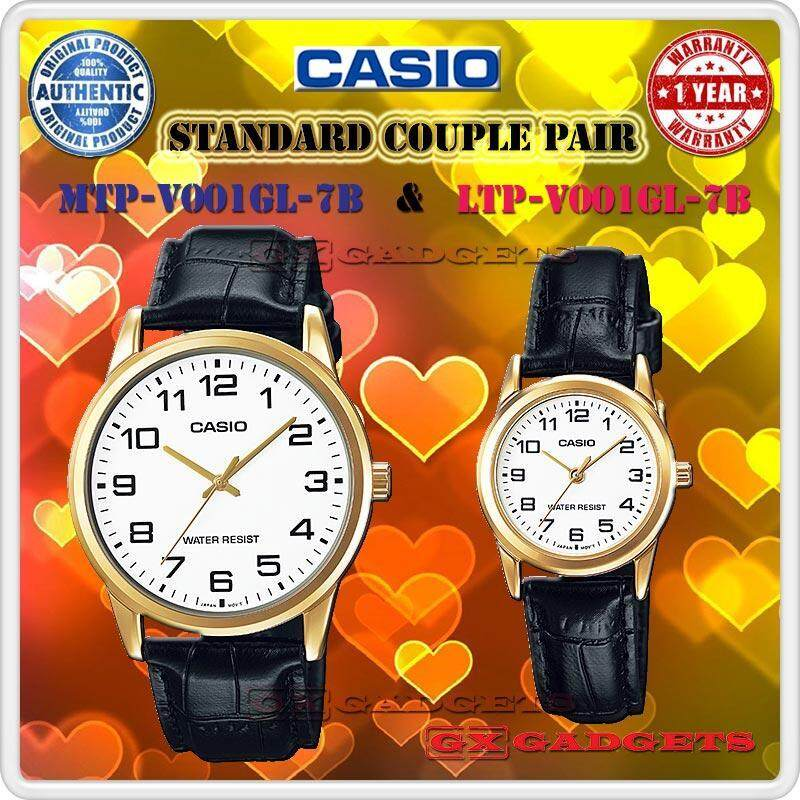 CASIO MTP-V001GL-7B + LTP-V001GL-7B STANDARD Analog Couple Pair Watch Leather Band Gold Case Water Resistant MTP-V001 LTP-V001 V001 Series Malaysia