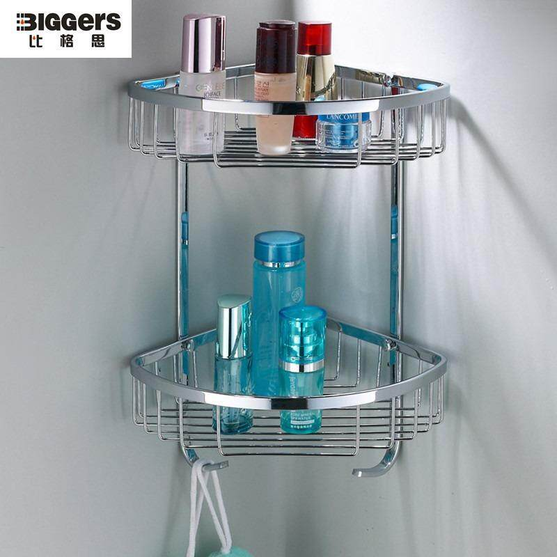 Biggers Sanitary No Rusty Chrome Finish Double Tier 304 Stainless Steel Bathroom Corner Shelf Basket With Hanging Hook By Joe And Qiao.