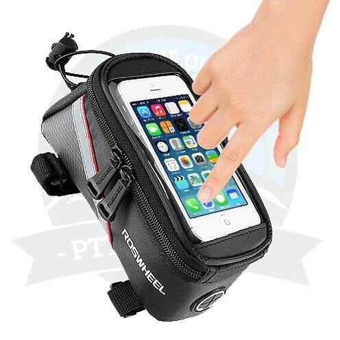 "[ LOCAL DELIVERY] Roswheel Bicycle Bag Beam Bag Bike Frame Front Bag Touch Screen 5.7"" Inch Mobile Phone Bag Bike Bag Front Beam Bag On The Tube Bag Waterproof Saddle Bag Riding Equipment Accessories (Black Red)"