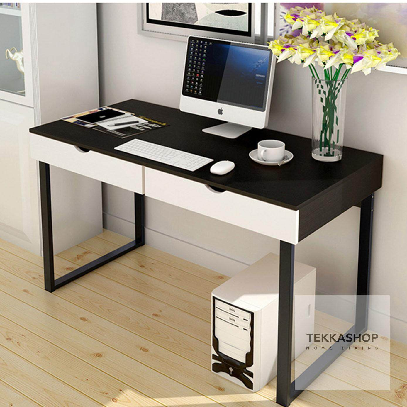 Tekka Gdot858100s Simple Modern Computer Table Study Desk Home Workstation W Drawer Black