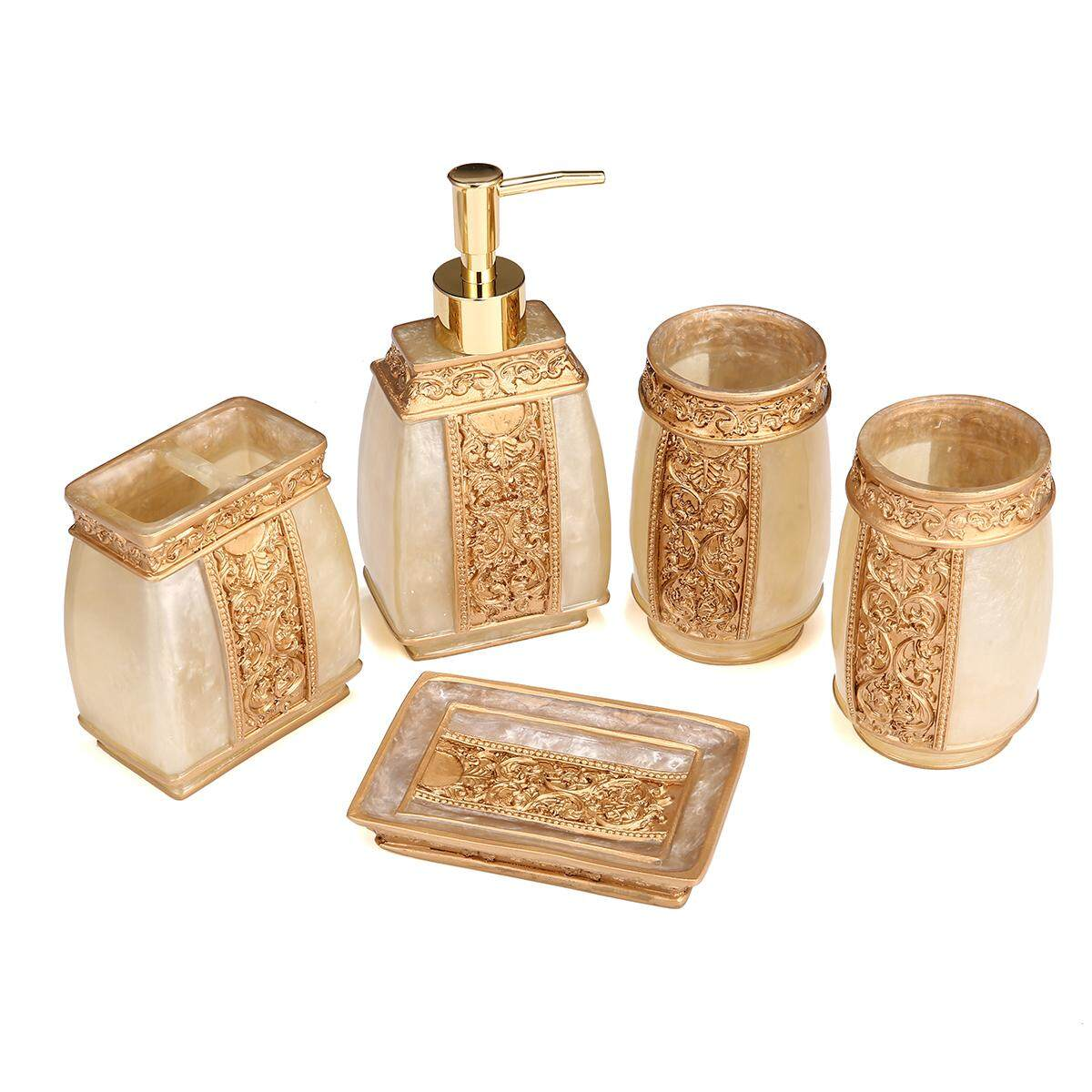 Bathroom Accessory Set Bath Resin Cup Toothbrush Holder Soap Dispenser 5 Piece By Moonbeam.