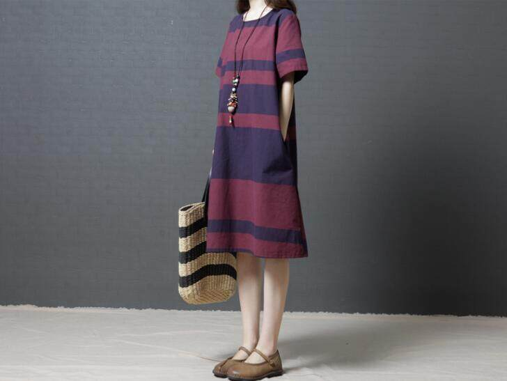 Summer Short Sleeve Pocket Maxi Loose Plus Striped Dresses - intl