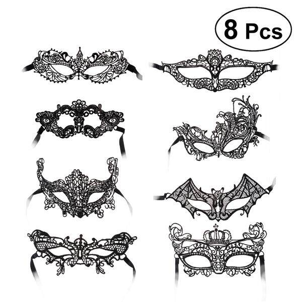 Hình ảnh 8pcs Black Half Face Mask Lace Eyemask Halloween Costume Party Prom Mask for Cosplay Masquerade Party Accessory