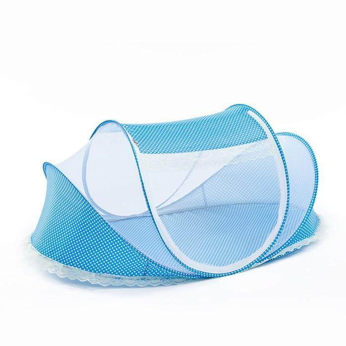 Portable Folding Baby Mosquito Net Infant Anti-Bug Crib Tent with Pad & Pillow - Random Colour