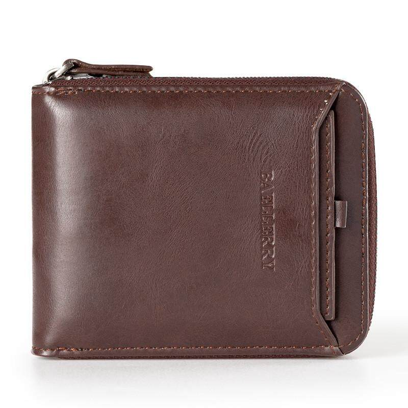Hình ảnh Homester 2018 New Baellerry Wallet Short Mini PU Leather Men Zipper Vintage Wallet Very Popular - intl
