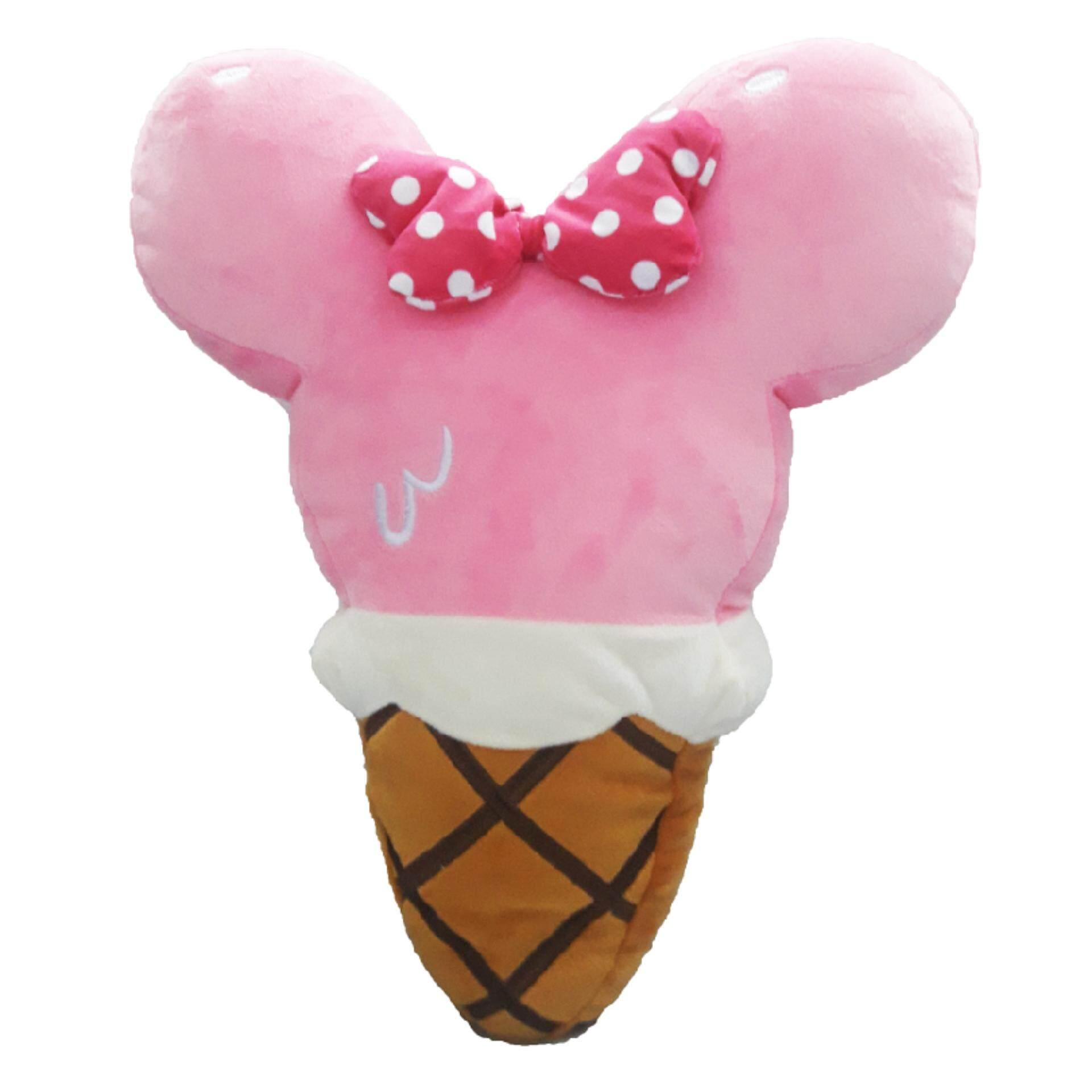 Disney Mickey Go Local Ice Cream Cone Shaped Cushion - Pink Minnie