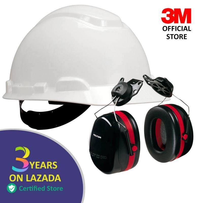 3M™ Hard Hat H-701P, White 4-Point Pinlock Suspension + 3M PELTOR OPTIME 105 HELMET ATTACHED