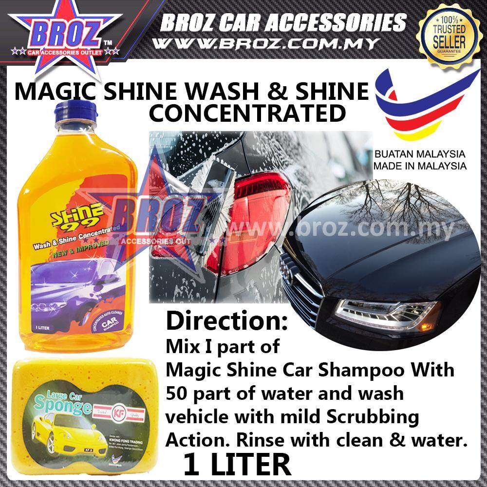 Shine 99 Wash & Shine Car Shampoo Cleaner 1 Litre With Free Sponge