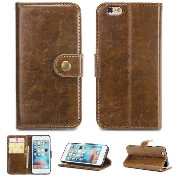 Moonmini Phone Cover For IPhone 6 IPhone 6s 4.7 Inch Crazy Horse Leather Card Slots Folding ...