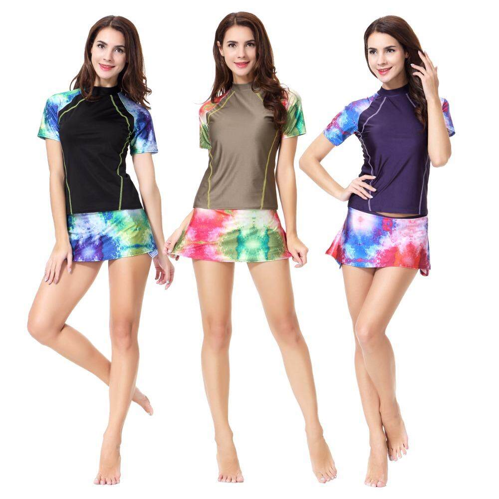 9d0f6242633 Modest Muslim Swimwears Women Two Pieces Swimsuit Short Sleeve Female  Bathing Suits Burkinis Wire Free with