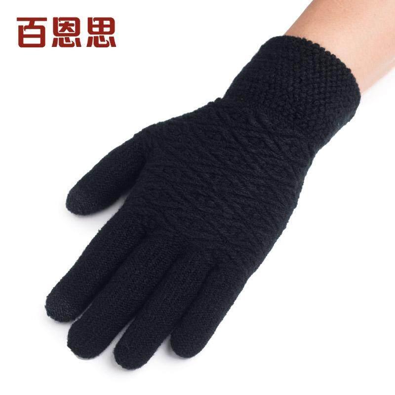 BAIENSI sarung tangan pria musim dingin Penghangat Bersepeda wol rajut layar sentuh lima jari jari murid