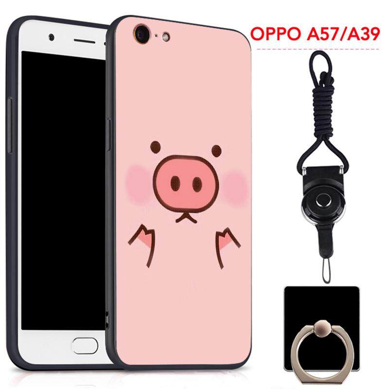 ... For OPPO A57 Silica Gel Soft Phone Case With Ring And String