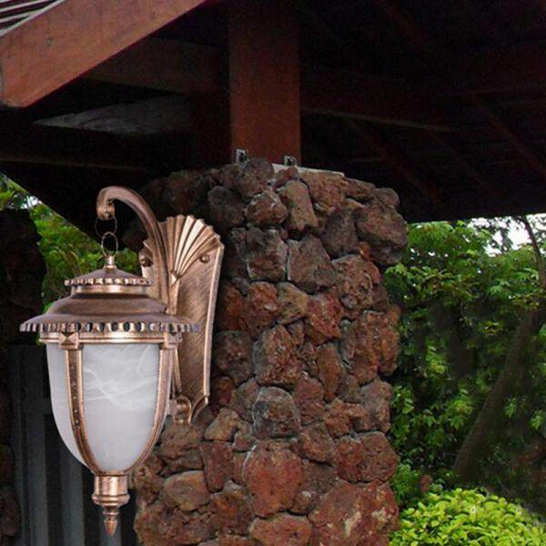 Star Mall Waterproof E27 Wall Lamp Holder Lights Case Home Villa Hotel Bar Decoration (without Lights Source) Style:Large bronze