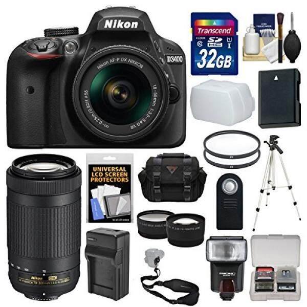 Nikon D3400 Digital SLR Kamera 18-55 Mm VR & 70-300 Mm DX AF-P Lensa 32 GB Kartu + Case + Flash + Tripod + Tele/Lensa Wide Kit