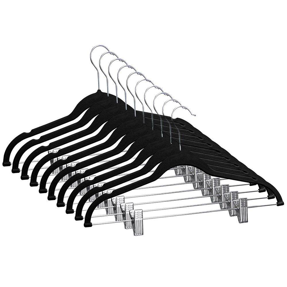 Velvet Hangers With Clips 10 Pack Non Slip Clothes Hangers Ultra Thin Pants Hangers Suit Hangers With Swivel Hooks By Didi Store.