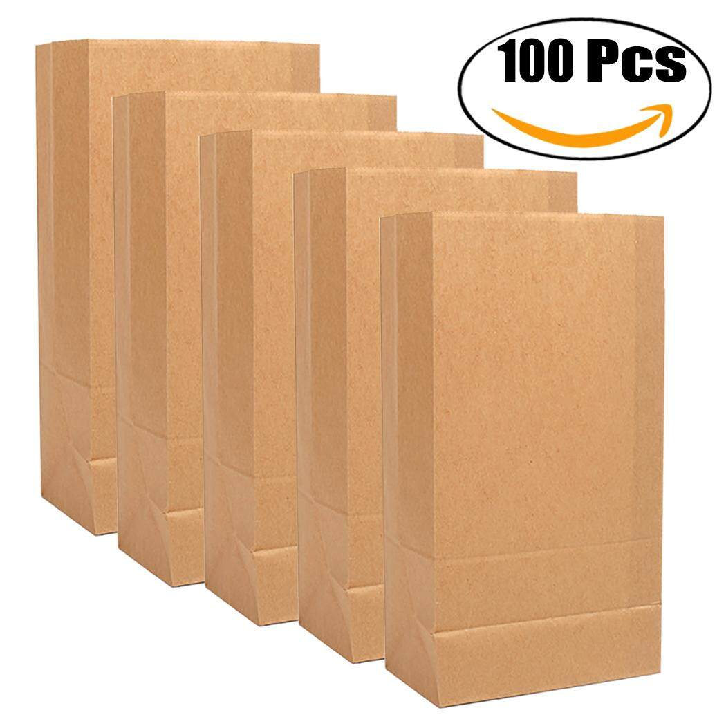 100PCS Bakery Bags Portable Packaging Paper Lunch Bags Kraft Paper Bags for Bread Cookie Snack S - intl