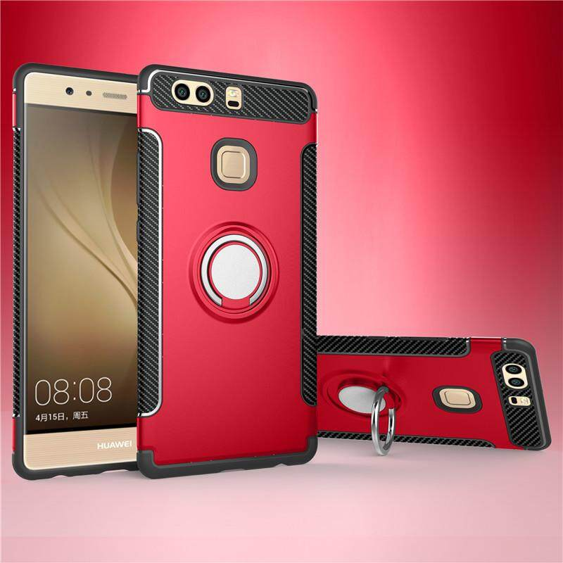 Slim Fit Dual Layer Hybrid Armor Shock Absorption Rugged Defender with Ring Holder Kickstand Drop Protection