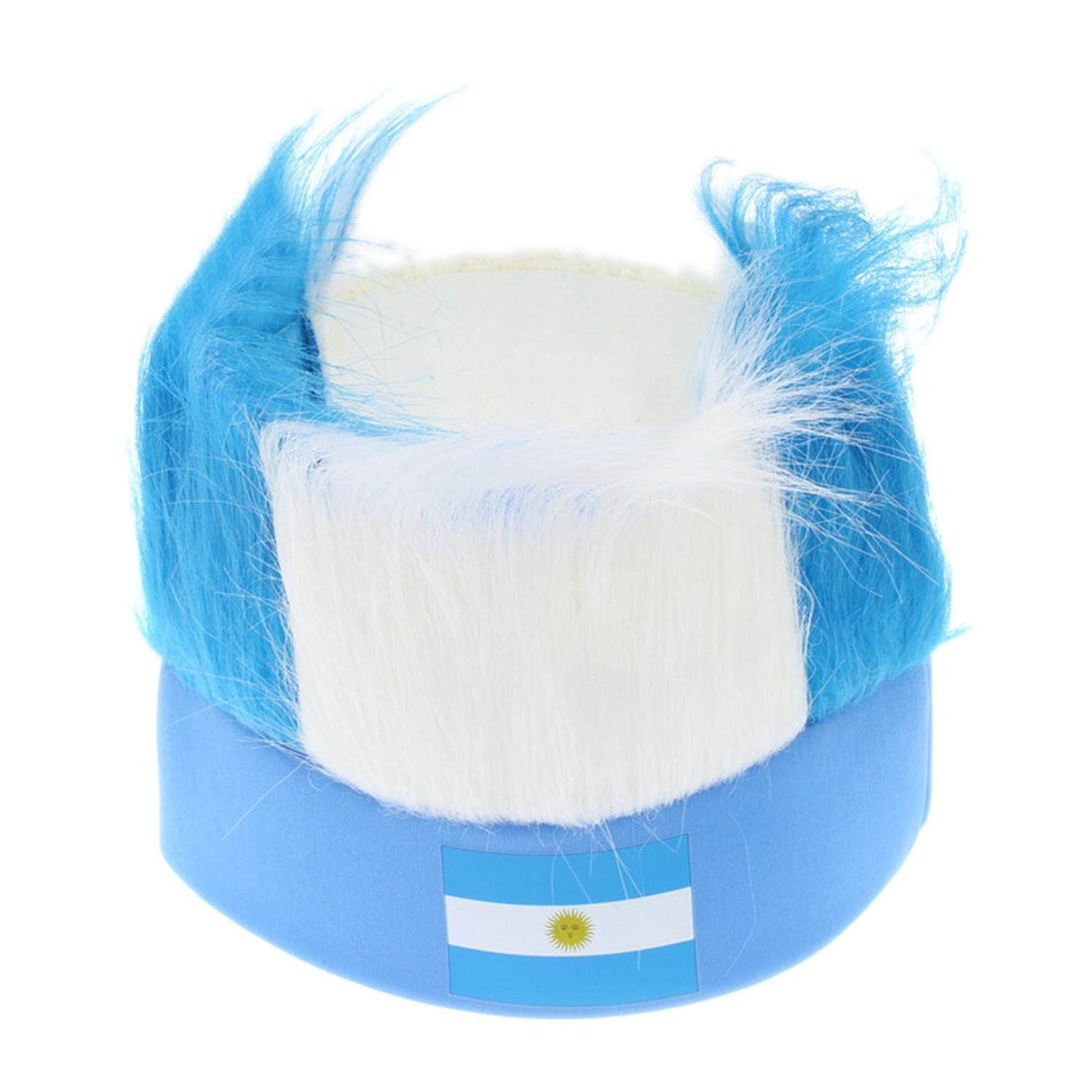 Novelty Cool 2018 World Cup Hair Wig Football Soccer Fans Hats Headband with National Flag Color Argentina - intl