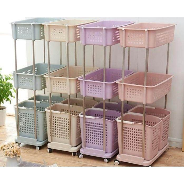 (Cream Colour)3 Layer 4 Basket Laundry Basket