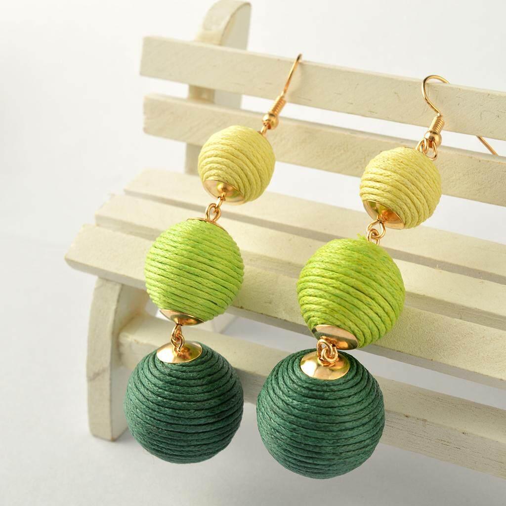 BolehDeals Thread Ball Trio Women Fashion Multi Layer Balls Woolen Earrings Ear Hook Dangle 18cm - intl