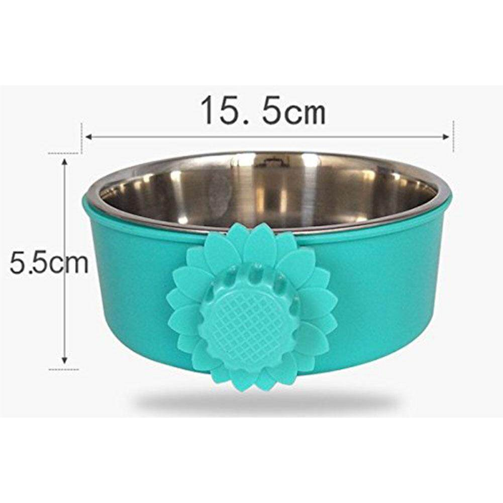 Redcolourful Cute Stainless Steel Cat Dog Foods Bowl with Stylish Sunflower Shape Hook Pet Bowl for