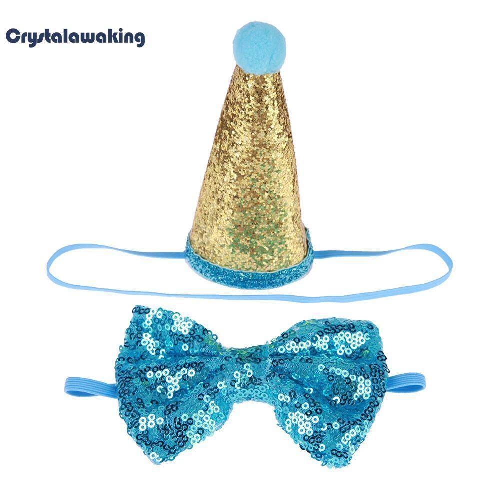 Glitter Sequins Pets Dogs Birthday Bowknot Headwear Caps Party Hat (Blue)