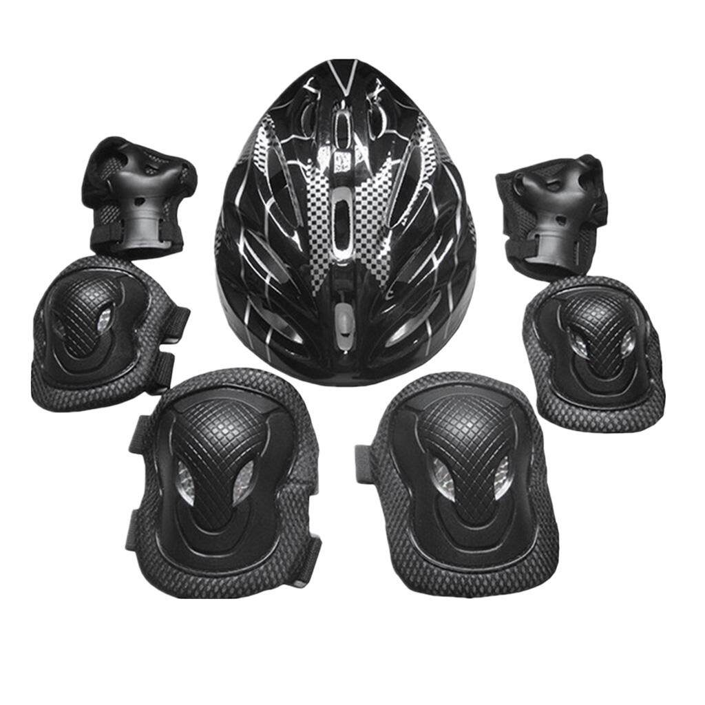 Magideal 7x Adults Sports Protection Set Knee Pads Elbow Pads Hand Pads Helmet Black By Magideal.