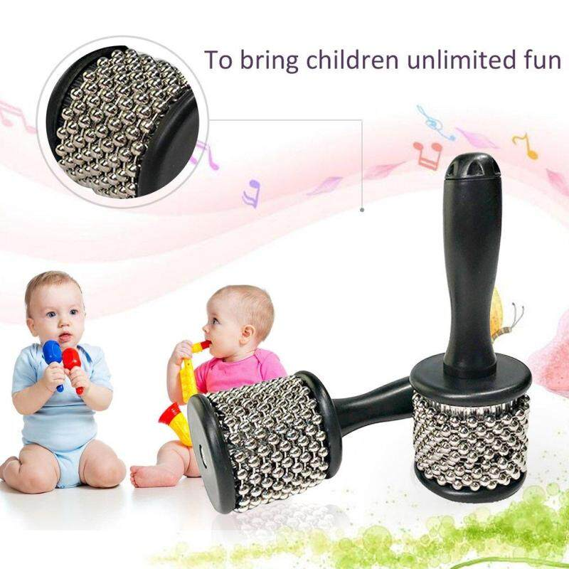 ELEC Orffworld Cabasa with Stainless Steel Beaded Musical Instruments for Kids silver & black