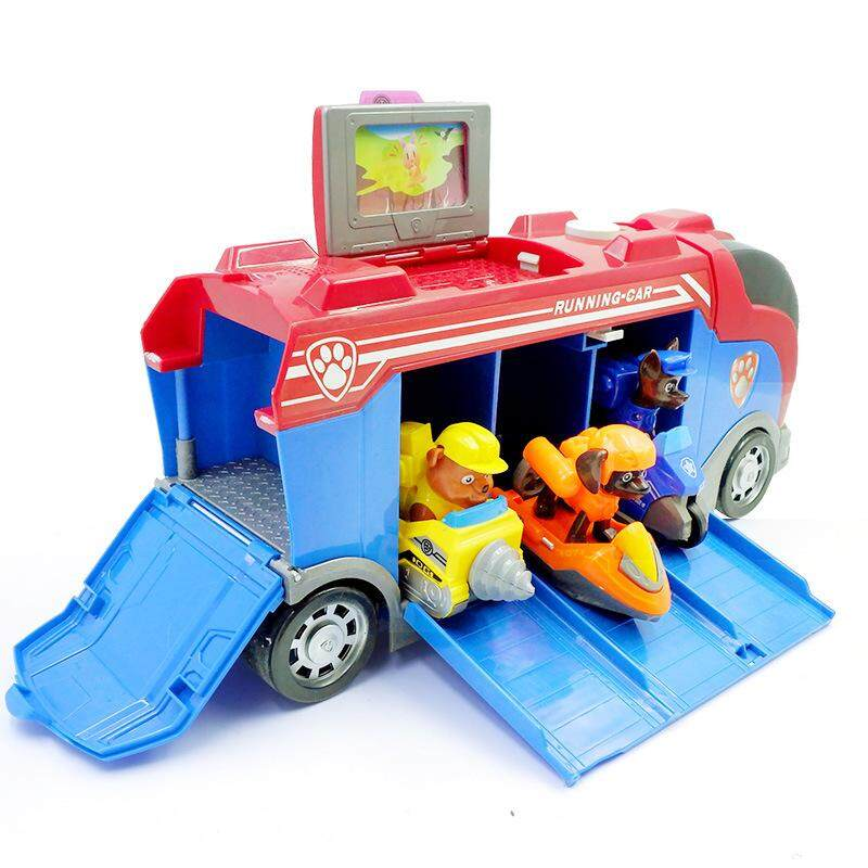 Paw Patrol Music Deformed Bus Action Figures Suit Dog Patrols Play Vehicles Set Toys 026 (bus + Captain + Random Distribution Of 3 Dogs) By King Of Glory Store.