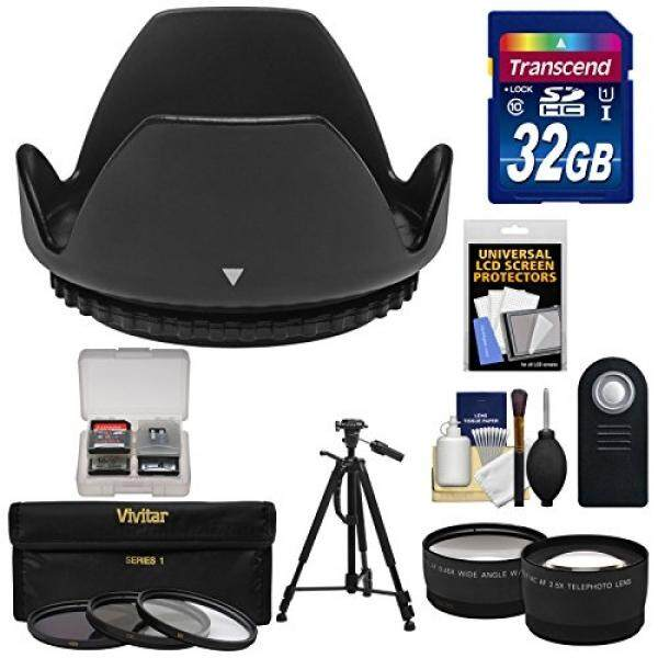 Essentials Bundle for Nikon D3200, D3300, D5200, D5300 & D5500 Digital SLR Camera & 18-55mm VR Lens with 32GB Card + 3 UV/CPL/ND8 Filters + Hood + Tripod + 2 Lenses Set + ML-L3 Remote Kit
