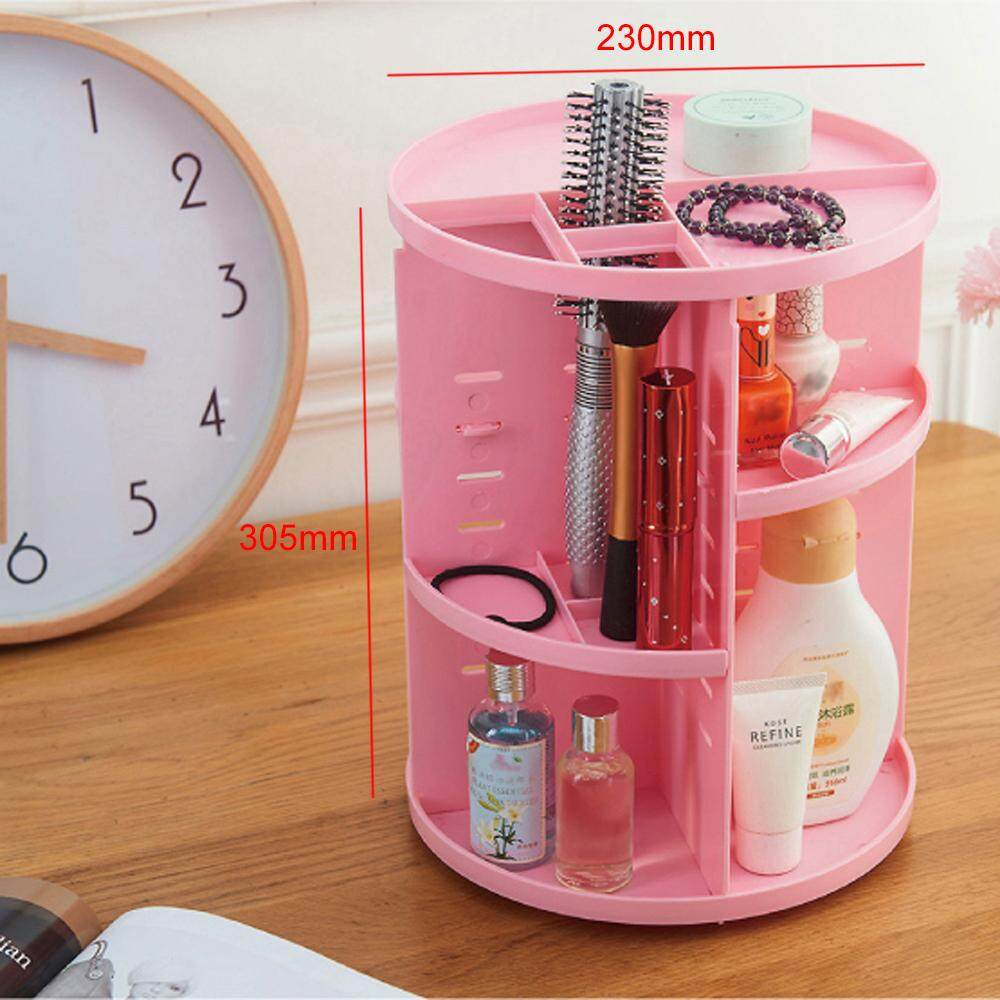 BIGSPOON 360 Rotating Adjustable Cosmetic Rack Organizer Jewelry Make Up Case Container Lipstick Display Holder Stand Makeup Brushes Sets Eyeshadow Moisturizers Nail Polish Storage Box (Pink)