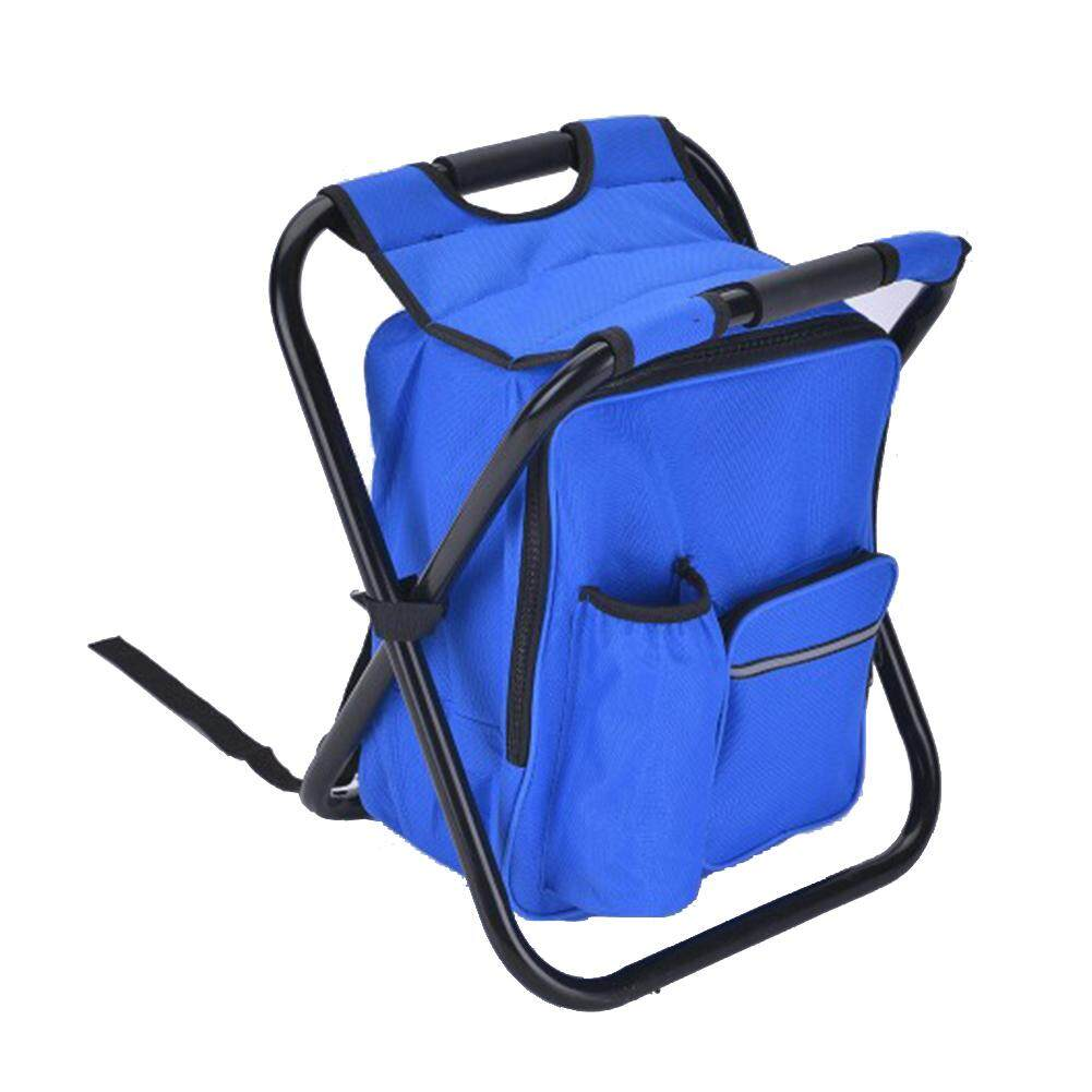 Outdoor Folding Stool Portable Backpack Chair Stool With Insulated Cooler Bag For Camping Fishing Hiking Beach Making Things Convenient For The People Novelty & Special Use