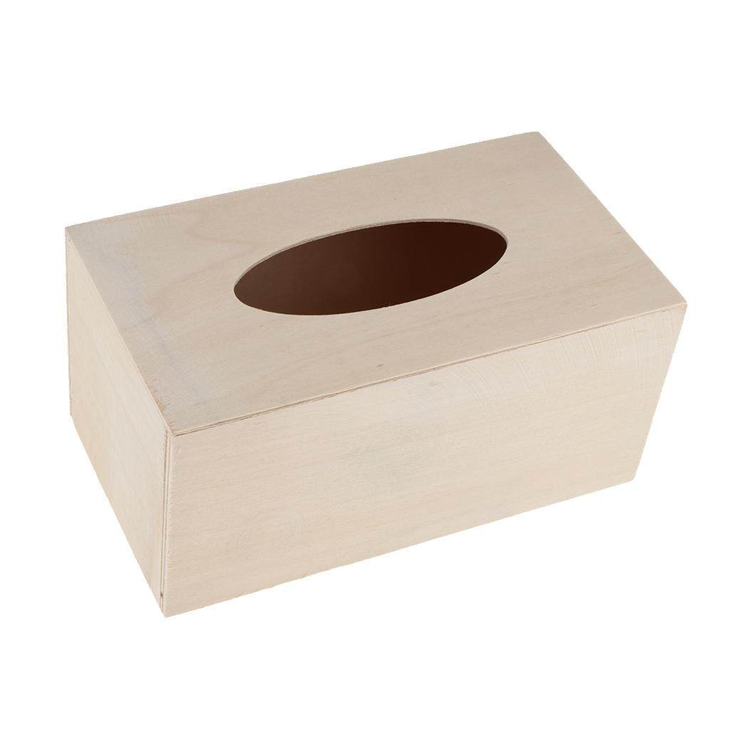 BolehDeals 10 pcs Unfinished Wood Tissue Box Holder Natural Wooden Box Cover Set Decor