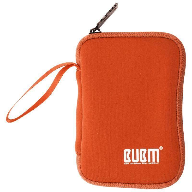 BUBM Portable Hard Disk Cable Bag Handle Storage Bag Power Bank Soft Handbag for Men Women orange