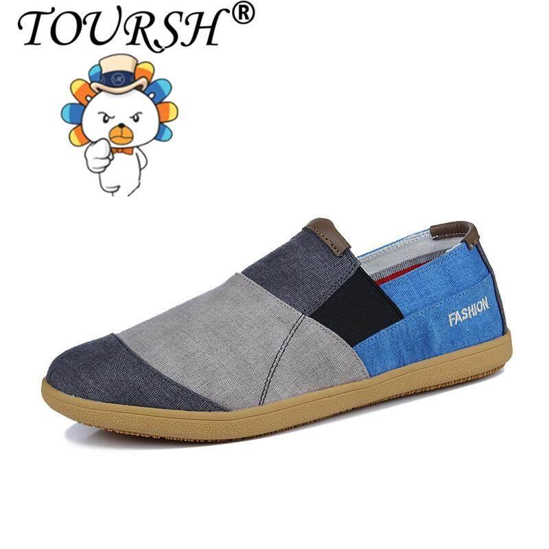 6566eba829 TOURSH Men Shoes Slip On Loafers Men Flats Male Espadrille Shoes Classic  Canvas Shoes Free
