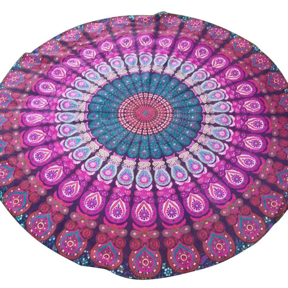 mingjue Peacock Yoga Mat Indian Mandala Roundies Tapestry Tablecloth Vibrant Beach Towel Beach Throw Picnic Mat Table Throw Table Cover - intl