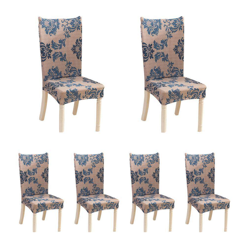 Leegoal 6 X Soulfeel Soft Spandex Fit Stretch Short Dining Room Chair Covers With Printed Pattern, Banquet Chair Seat Protector Slipcover For Home Party Hotel Wedding Ceremony By Leegoal.