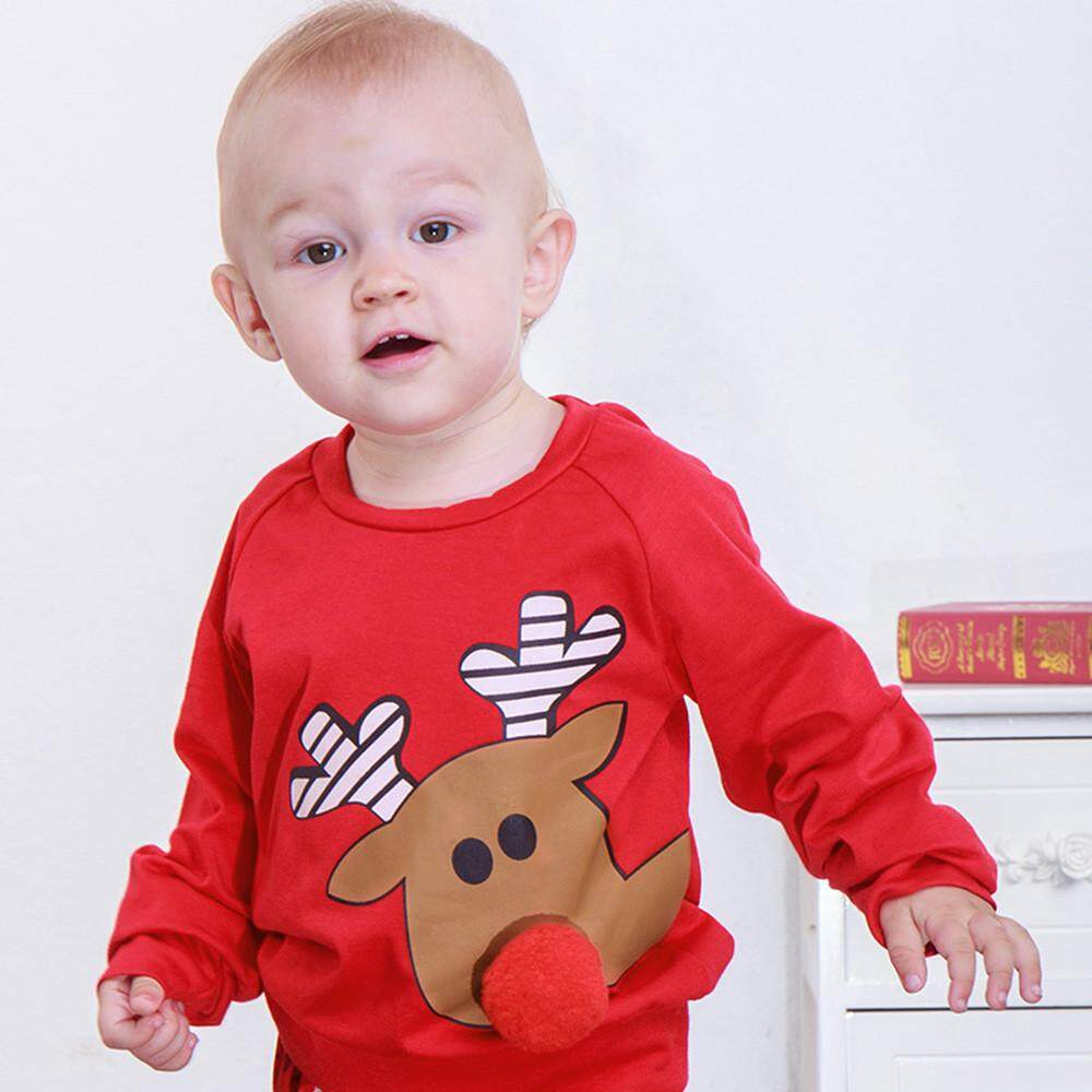 64798f889d26d Tideshop Infant Baby Boys Girls Cartoon Deer 3D Nose Christmas XMAS Tops  Pullover Outfits