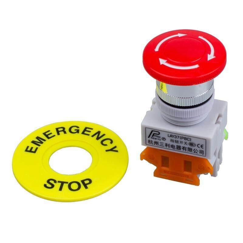 Red Mushroom Cap 1NO 1NC DPST Emergency Stop Push Button Switch AC 660V 10A