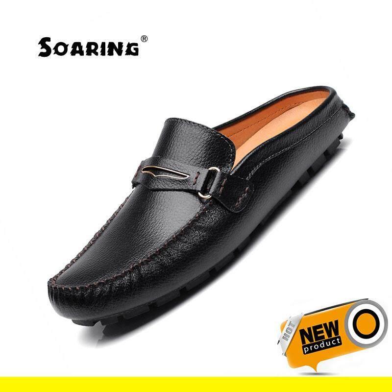 254beec3b60e9 Soaring Genuine Leather Men Half Slippers Slip On Outdoor Mens Shoes Men  Soft Leather Slipper Man
