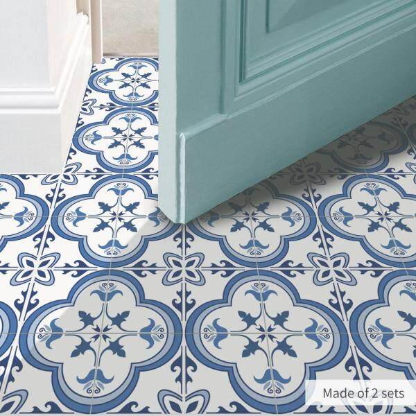 Blue and white tiles, floor stickers, Chinese style Scandinavian stickers, creative pattern, kitchen waterproof wall stickers. - intl