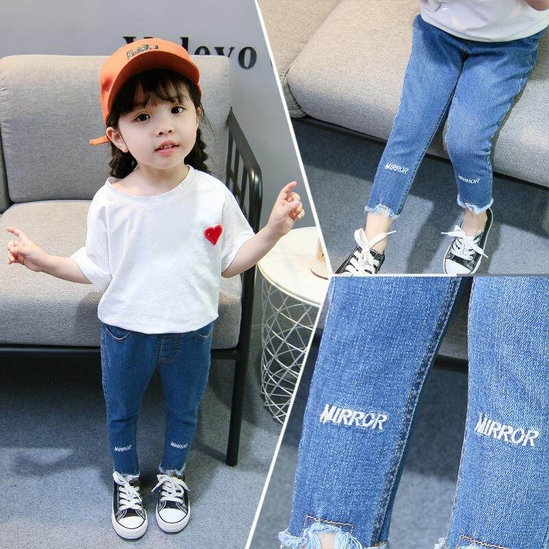 077d91177 Children Casual Pencil Pants Girl Clothes Baby Girls Irregular Jeans for Kids  Fashion Kids Trousers Autumn