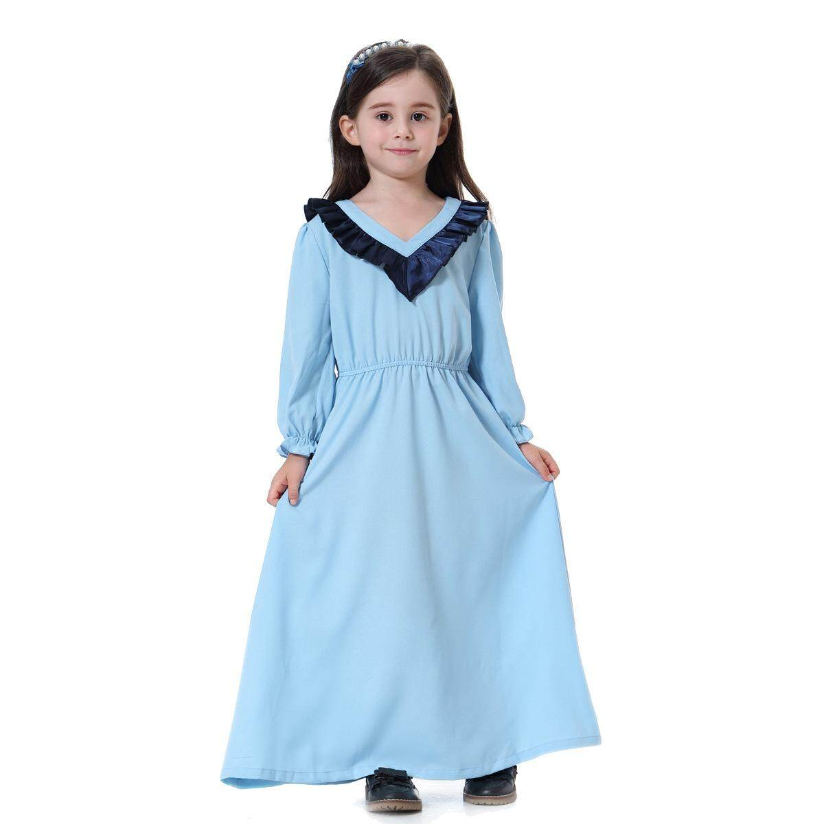 New hot selling Muslim girl long skirt princess sleeve dress