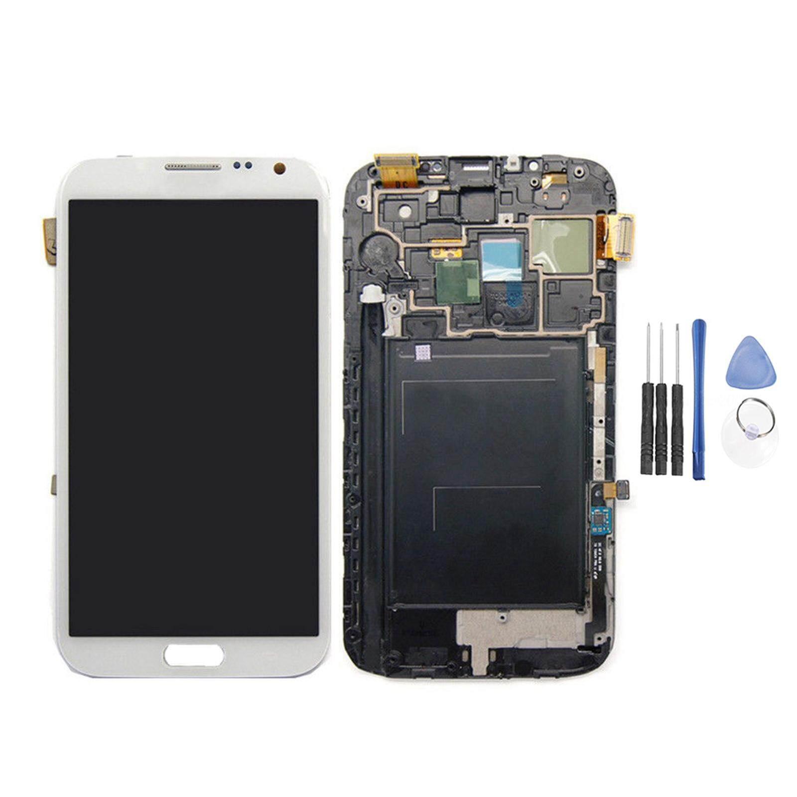Tampilan LCD Baru Layar Rakitan Digitizer Sembuh untuk Samsung Galaxy Note 2 II N7100 (dengan Frame)