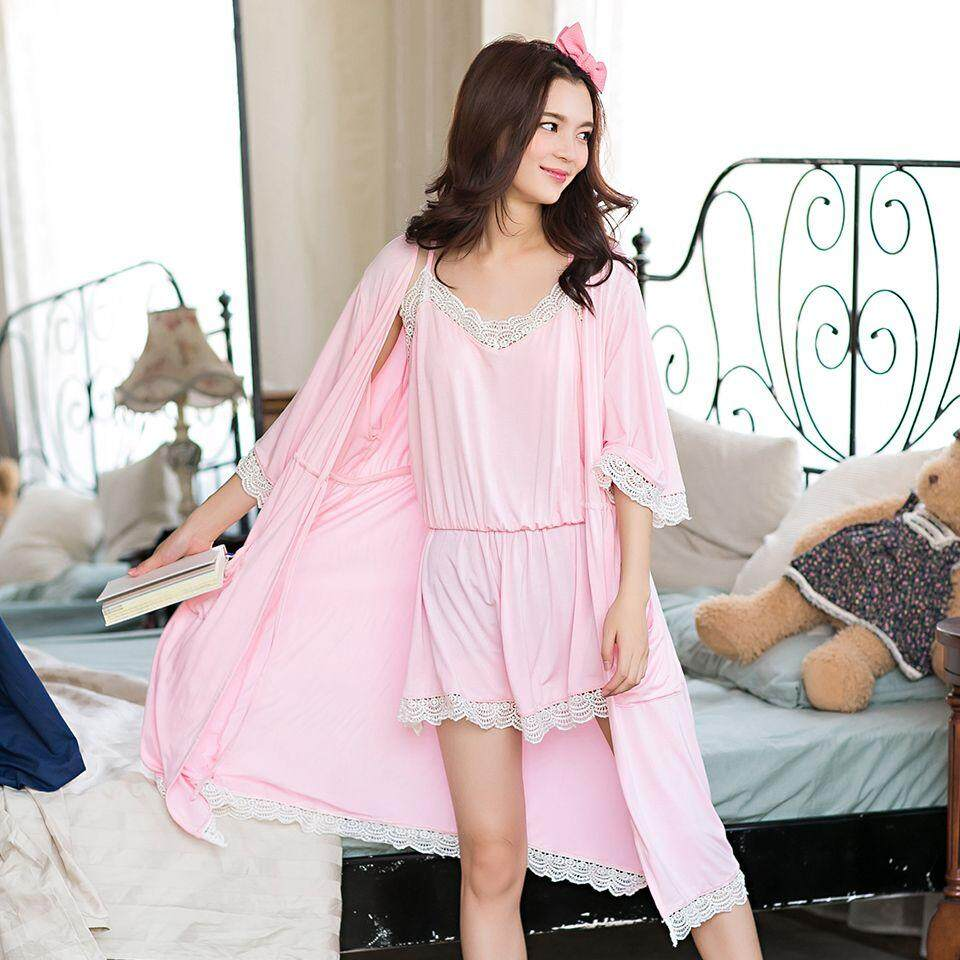 GRLBOBRA Autumn New Bamboo Fiber Two-piece Pajamas Female Korean Version of  The Sleeves Outer ba40ed6e0