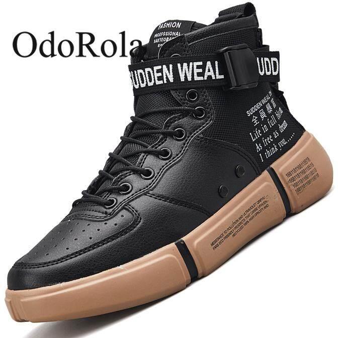 Atasan Tinggi Pria Sepatu Skateboard Olahraga Kasual Sepatu Lari Mode  Nyaman Sneakers Sepatu Kets Kulit Sepatu 63835c03d4
