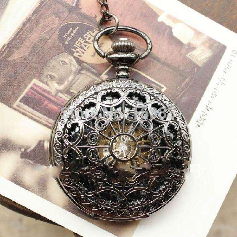SKONE 2902 Men Vintage Pocket Watches Chain Necklace Antique Mechanical Hand Wind Skeleton Watch Steampunk Gift for Him Anniversary Wedding Malaysia
